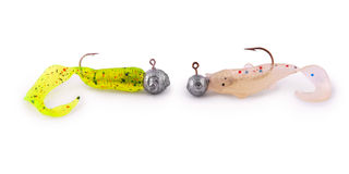 Silicon Fishing Baits (Twisters) with Hooks (Clipping path) Stock Images