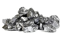 Silicon. High purity polycrystalline silicon from Freiberg/ Germany isolated on white background Stock Image