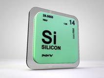 Silicon - Si - chemical element periodic table Stock Photos