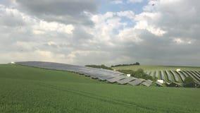 Silicon solar energy panels. On green corn field stock video