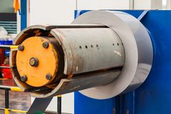 Silicon steel coil on machine royalty free stock image