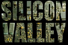 Silicon valley with circuit board background stock image
