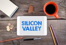 Silicon Valley Gammalt träkontorsskrivbord Royaltyfri Foto