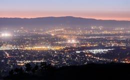 Silicon Valley Lights. Mt Hamilton, San Jose, Santa Clara County, California, USA royalty free stock photos