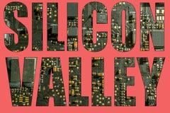 Silicon Valley med bakgrund för strömkretsbräde Arkivbilder
