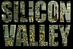 Silicon Valley met de achtergrond van de kringsraad stock afbeelding
