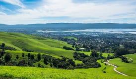 Silicon Valley-Panorama vom Auftrag-Spitzen-Hügel Stockfotos