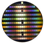 Silicon wafer. Circular silicon wafer with microchips stock image