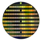 Silicon wafer. Circular silicon wafer with microchips stock photography