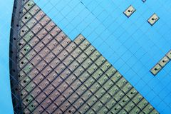 Silicon wafer with electronic chips Royalty Free Stock Photos