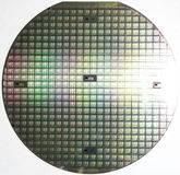 Silicon wafer, multiple computer chips royalty free stock image