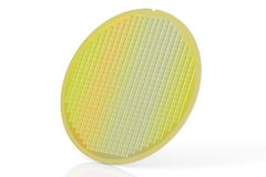 Silicon wafer with processor cores, 3D rendering Stock Photo