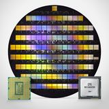 Silicon wafer with ready processors. Realistic illustration stock illustration