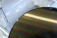 Silicon Wafer of SIM Cell Phone Chips and Storage Royalty Free Stock Photos