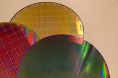 Free Silicon Wafers - A Wafer Is A Thin Slice Of Semiconductor Material, Such As A Crystalline Silicon, Used In Electronics For The Royalty Free Stock Photography - 131526117