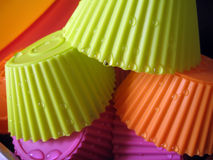 Silicone baking cups. Wet and colorful silicone baking cups Royalty Free Stock Photos