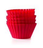Silicone baking cups. The red  silicone baking cups Royalty Free Stock Photo