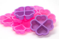 Silicone baking cups , silicon cupcake tin Stock Image
