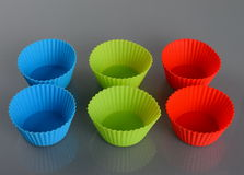Silicone cups for muffins Royalty Free Stock Photography