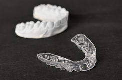 Silicone dental tray and mold.  Stock Photo