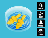 Silicone ear plugs in a protective box. Royalty Free Stock Photos
