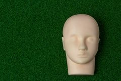a silicone mannequin for basic training eyelash extension on green background stock photo