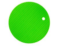 Silicone pad green color for hot dishes, isolation on white background royalty free stock image