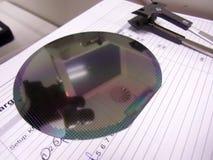 Silikonoblate und die Pinzette Lizenzfreie Stockbilder