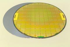 Silikonowi opłatki dwa typu - opróżnia popielatych opłatkowych i złocistych wafes z mikroukładami obrazy stock