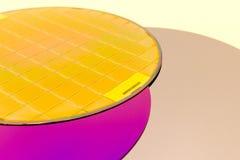 Silikonowi opłatki trzy typu pusty popielaty opłatek, purpurowy opłatek z SiO wafes z mikroukładami -, ekranowymi i złocistymi zdjęcia stock