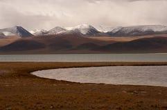 Siling Lake in Tibet. Siling Lake and mountain in Tibet, China Stock Photo