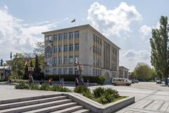 Building and street at the center of town of Silistra, Bulgaria royalty free stock photo