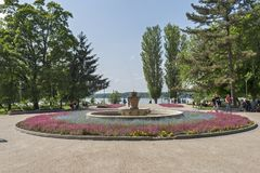 Park with flowers at the center of town of Silistra, Bulgaria royalty free stock image