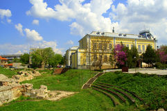 Silistra suaqre view,Bulgaria. Remains of the Medieval fortress at Silistra downtown square,Bulgaria.Silistra is a port city on the Danube river shore in Royalty Free Stock Image