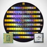 Siliziumscheibe mit bereiten Prozessoren Realistische Abbildung Stock Abbildung