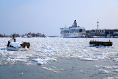 Silja Line ferry berthed in Helsinki in winter Stock Images