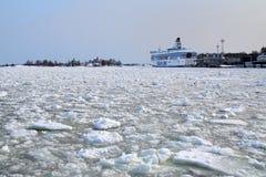 Silja Line ferry berthed in Helsinki in winter Stock Photo