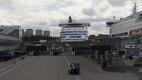 Silja Line. Terminal and boat Silja Line in the Stockholm Royalty Free Stock Photography