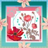 Silk шарф с обрамленным флористическим составом бесплатная иллюстрация