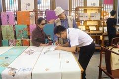 Silk art exhibition sales Royalty Free Stock Photos