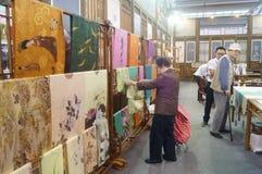 Silk art exhibition sales Stock Image