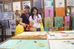 Silk art exhibition sales Stock Photo