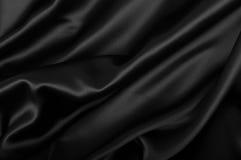 Silk Background. Black Texture - Dark Wavy Glossy Silk Drapery Stock Photography