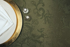 Silk Background and Plate Setting Royalty Free Stock Images