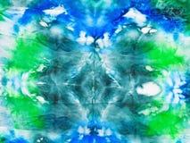 Silk batik - abstract green blue spots ornament Royalty Free Stock Images