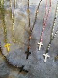 Silk and beaded Catholic Rosaries royalty free stock image
