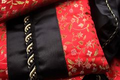 Silk black and red pillow Royalty Free Stock Image