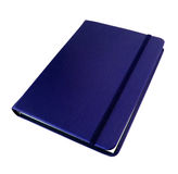 Silk blue cover notebook isolated Stock Images