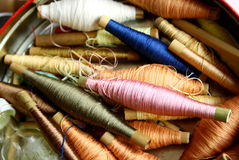 Silk bobbins with nature colorful Stock Photo