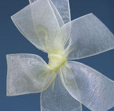 Silk Bow. Against a blue background, yellow knot Royalty Free Stock Photos